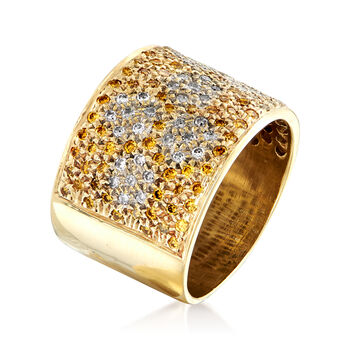 C. 1980 Vintage 1.50 ct. t.w. White and Yellow Pave Diamond Ring in 14kt Yellow Gold. Size 7, , default
