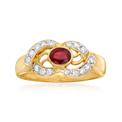 C. 1980 Vintage .35 Carat Ruby and .25 ct. t.w. Diamond Open-Space Ring in 18kt Yellow Gold, , default