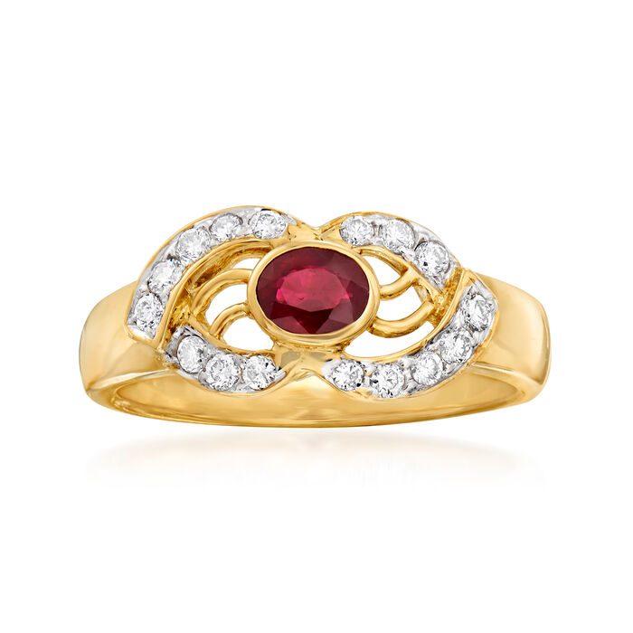 C. 1980 Vintage .35 Carat Ruby and .25 ct. t.w. Diamond Open-Space Ring in 18kt Yellow Gold. Size 6.5, , default