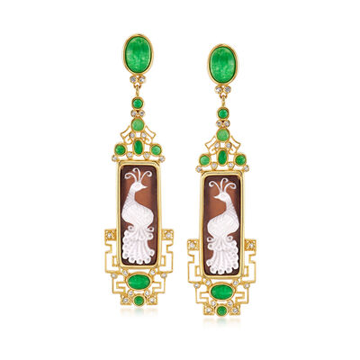 Italian Shell Cameo, 6.60 ct. t.w. Green Quartz and .50 ct. t.w. White Topaz Drop Earrings in 18kt Gold Over Sterling