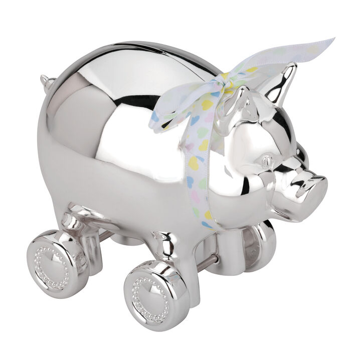 Reed & Barton Piggy Coin Bank with Wheels, , default