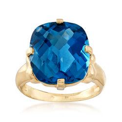 C. 1980 Vintage 10.00 Carat Blue Topaz Ring in 14kt Yellow Gold, , default