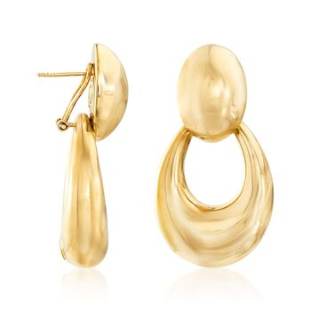 Italian 18kt Yellow Gold Jewelry Set: Oval Earrings and Open-Space Oval Jackets, , default