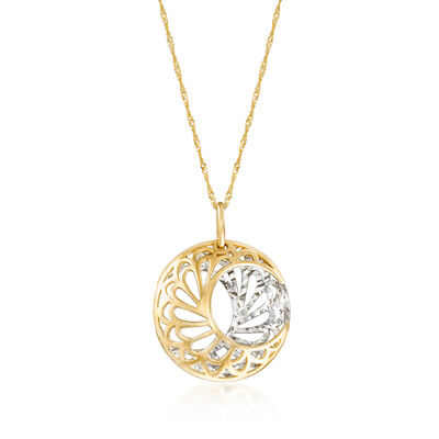 14kt Two-Tone Gold 3-D Half-Moon Pendant Necklace
