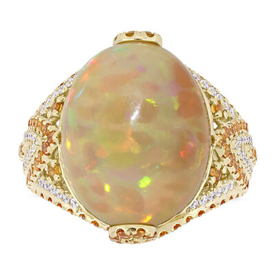 Ethiopian Opal, 1.05 ct. t.w. Yellow Sapphire and .23 ct. t.w. Diamond Cocktail Ring in 14kt Yellow Gold