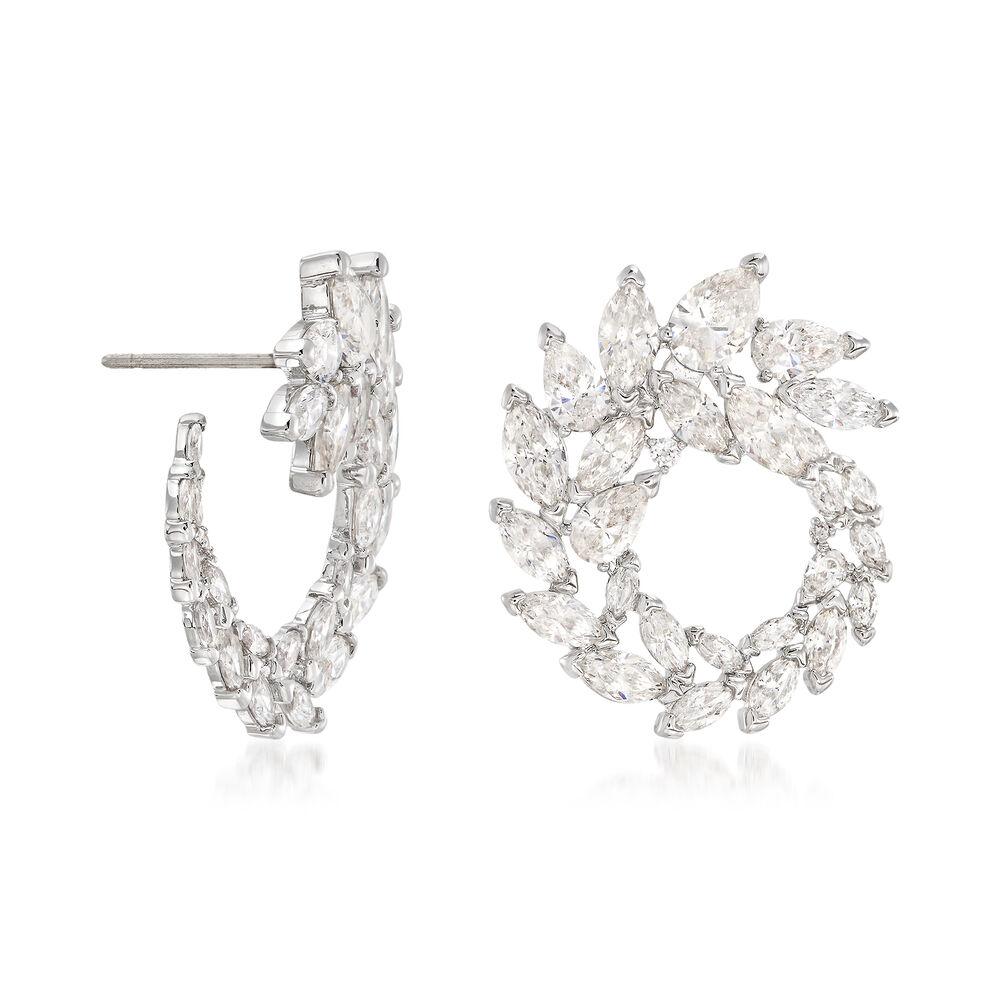 "7492189091c79c Swarovski Crystal ""Louison"" Marquise Crystal Wreath Earrings in  Silvertone, , default"