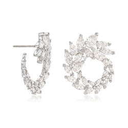 "Swarovski Crystal ""Louison"" Marquise Crystal Wreath Earrings in Silvertone, , default"