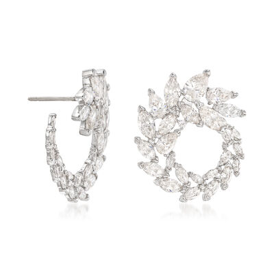 "Swarovski Crystal ""Louison"" Marquise Crystal Wreath Earrings in Silvertone, , default"