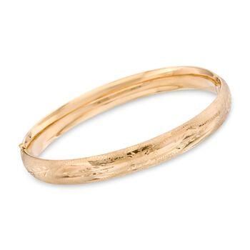 """14kt Yellow Gold Floral Engraved Bangle Bracelet. 7"""", , default"""