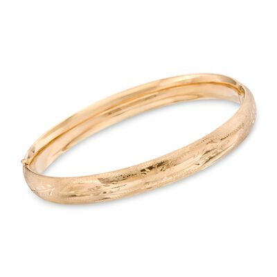 14kt Yellow Gold Floral Engraved Bangle Bracelet, , default
