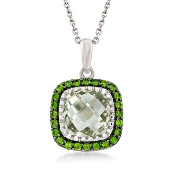 """6.25 Carat Green Amethyst and .80 ct. t.w. Chrome Diopside Pendant Necklace in Sterling Silver. 18"""", , default"""