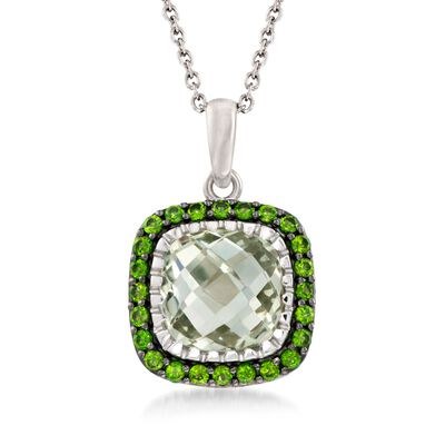 6.25 Carat Green Prasiolite and .80 ct. t.w. Chrome Diopside Pendant Necklace in Sterling Silver, , default