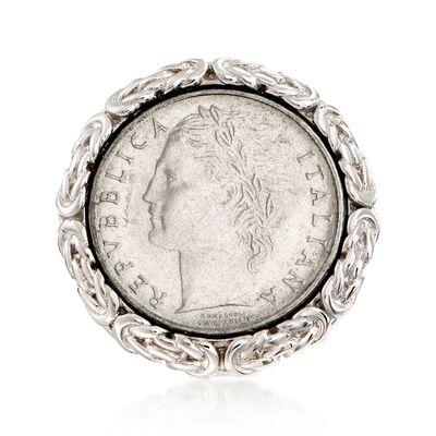 Italian Genuine 100-Lira Micro Coin Byzantine Ring in Sterling Silver, , default