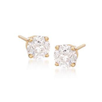 1.00 ct. t.w. CZ Stud Earrings in 14kt Yellow Gold, , default