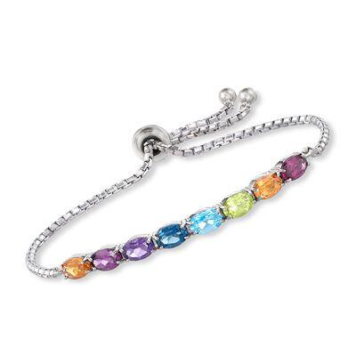 3.40 ct. t.w. Multi-Stone Bolo Bracelet in Sterling Silver, , default