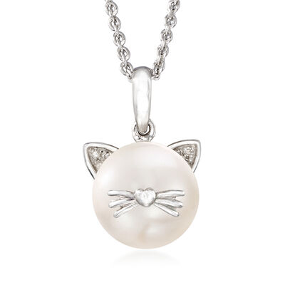 9-9.5mm Cultured Pearl Cat Pendant Necklace with Diamond Accents in Sterling Silver, , default