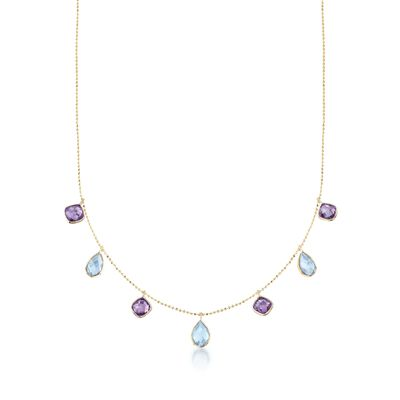 5.00 ct. t.w. Blue Topaz and 3.60 ct. t.w. Amethyst Station Necklace in 14kt Yellow Gold, , default