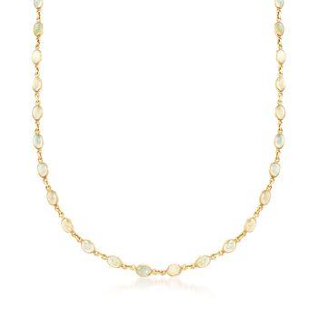 """Ethiopian Opal Station Necklace in 14kt Gold Over Sterling. 19"""", , default"""