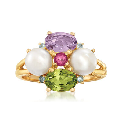 Cultured Pearl and 1.56 ct. t.w. Multi-Gemstone Ring in 18kt Gold Over Sterling