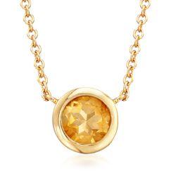 """.80 Carat Bezel-Set Citrine Necklace in 18kt Gold Over Sterling. 16"""", , default"""