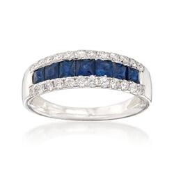 1.00 ct. t.w. Sapphire and .46 ct. t.w. Diamond Ring in 14kt White Gold, , default