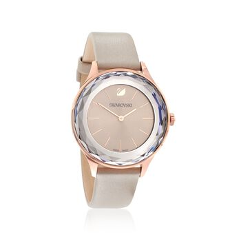 Swarovski Crystal Octea Nova Women's Rose Goldtone Stainless Watch With Gray Crystal and Taupe Leather, , default