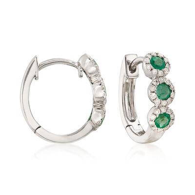 .20 ct. t.w. Emerald and .20 ct. t.w. Diamond Huggie Hoop Earrings , , default