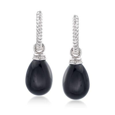 Sterling Silver Twisted Hoop Earrings with Black Onyx Teardrops, , default