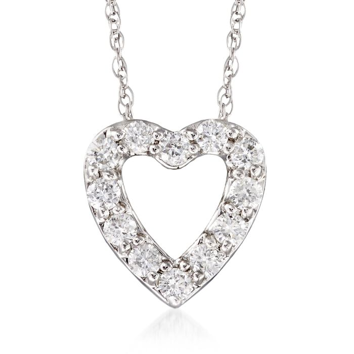 .24 ct. t.w. Diamond Heart Necklace in 14kt White Gold