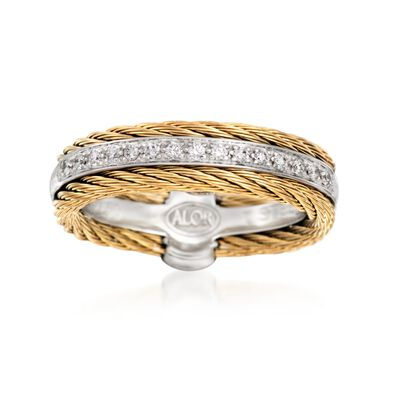 "ALOR ""Classique"" .12 ct. t.w. Diamond and Yellow Cable Ring with 18kt White Gold, , default"