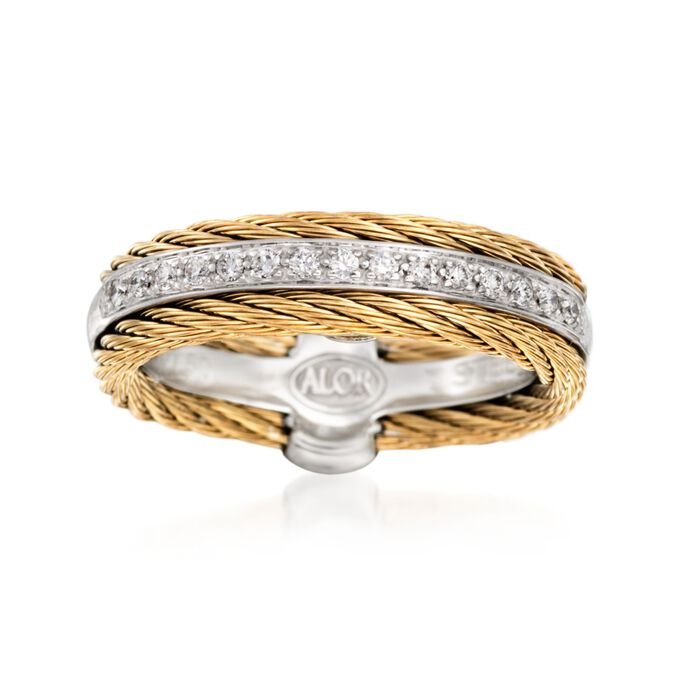 """ALOR """"Classique"""" .12 ct. t.w. Diamond and Yellow Cable Ring with 18kt White Gold. Size 7, , default"""