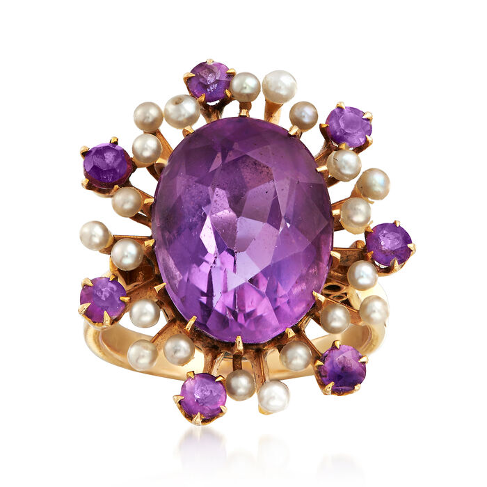 C. 1950 Vintage 10.75 ct. t.w. Amethyst and Cultured Pearl Ring in 14kt Yellow Gold. Size 7, , default