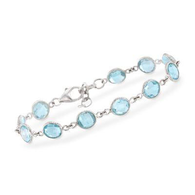 20.00 ct. t.w. Blue Topaz Bracelet in Sterling Silver, , default