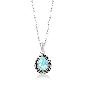 "1.70 Carat Blue Topaz Woven Pendant Necklace in Sterling Silver. 18"", , default"