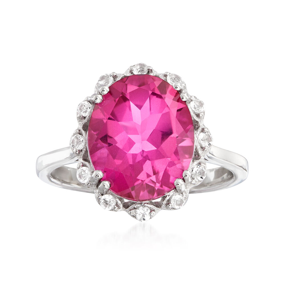 90de417f61510 5.95 Carat Pink and White Topaz Ring in Sterling Silver