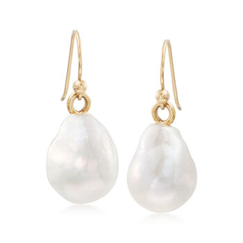 12-14mm Cultured Baroque Pearl Drop Earrings in 14kt Yellow Gold, , default