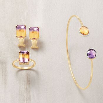 3.40 Carat Ametrine Solitaire Ring in 14kt Yellow Gold