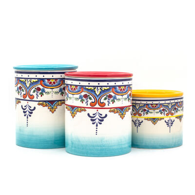 "Euro Ceramica ""Zanzibar"" Set of 3 Canister Set"