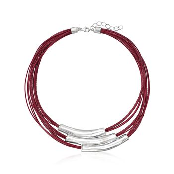 """Sterling Silver Multi-Bar Collar Necklace With Red Leather Cords. 18"""", , default"""