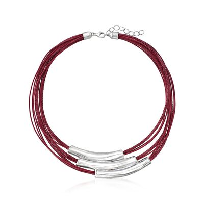 Sterling Silver Multi-Bar Collar Necklace with Red Leather Cords, , default