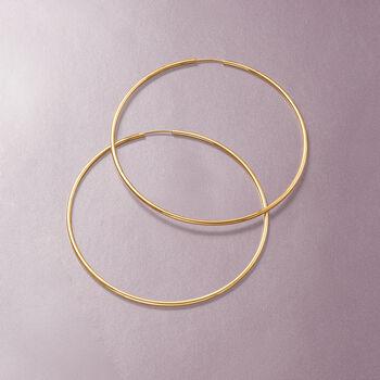 "1.5mm 14kt Yellow Gold Endless Hoop Earrings. 2 3/8"", , default"