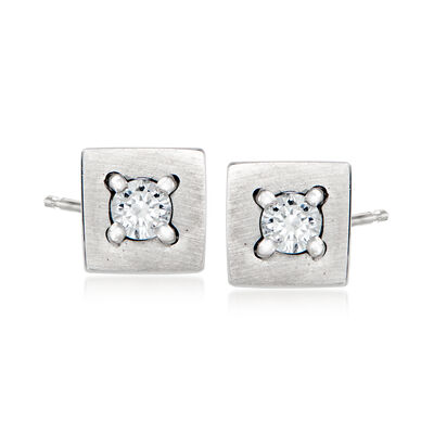 C. 1990 Vintage Salvini .14 ct. t.w. Diamond Square Earrings in 18kt White Gold