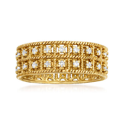 .50 ct. t.w. Diamond Double-Row Eternity Band in 18kt Gold Over Sterling