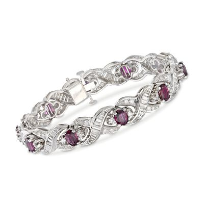 C. 1980 Vintage 8.00 ct. t.w. Ruby and 2.90 ct. t.w. Diamond Bracelet in 14kt White Gold, , default