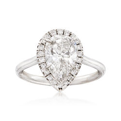 Majestic Collection 2.11 Carat Pear Diamond and .19 ct. t.w. Diamond Halo Ring in 18kt White Gold  , , default