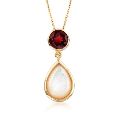 Mother-Of-Pearl and 2.20 Carat Garnet Pendant Necklace in 18kt Yellow Gold Over Sterling Silver, , default