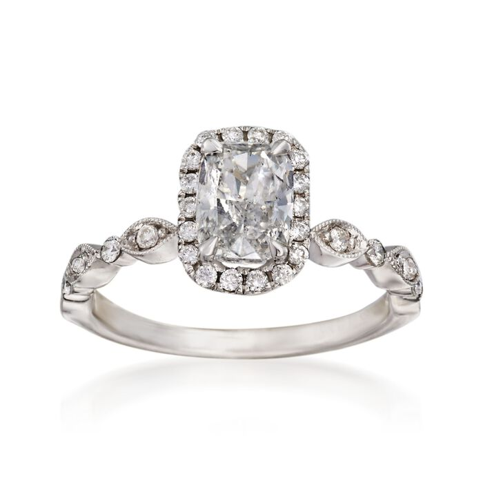 Henri Daussi 1.31 ct. t.w. Certified Diamond Engagement Ring in 18kt White Gold