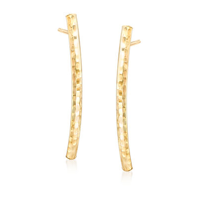 Italian 14kt Yellow Gold Curved Bar Drop Earrings