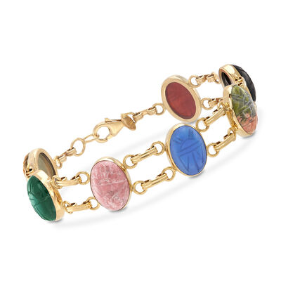 Multi-Stone Scarab Bracelet in 14kt Yellow Gold, , default