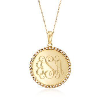.12 ct. t.w. Diamond Monogram Disc Necklace in 14kt Yellow Gold, , default